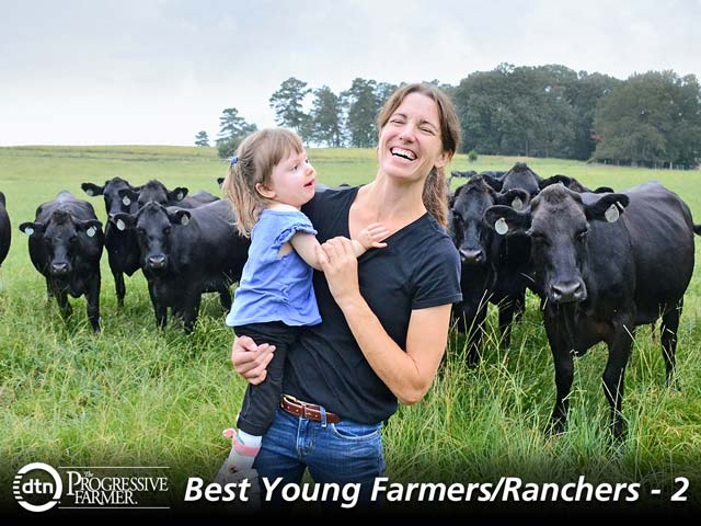 Jamie Blythe, with daughter Gracie, raises cattle in addition to cotton and corn crops in northern Alabama. (DTN/The Progressive Farmer photo by Brent Warren)
