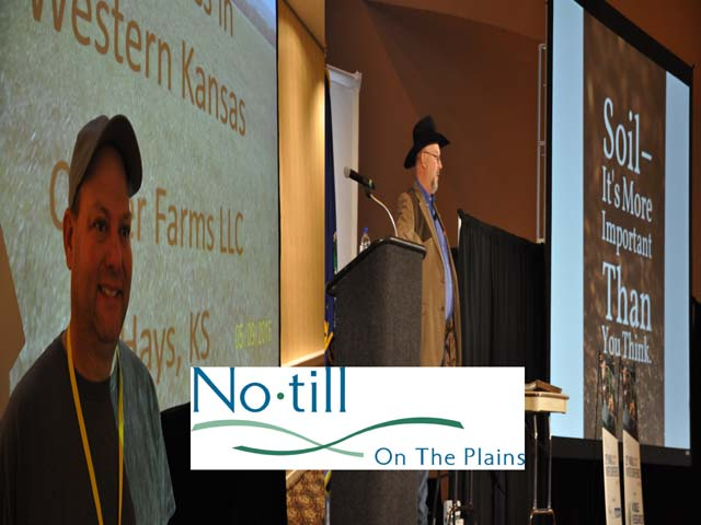 Brice Custer of Hays, Kansas, (left) and Jimmy Emmons of Leedey, Oklahoma, both spoke at the No-till on the Plains conference this week in Wichita, Kansas, about ways cover crops added profitability to their operations. (DTN photos/illustration by Chris Clayton)