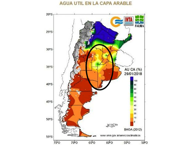 Most of Argentina's major crop areas have short to very short soil moisture supplies. Forecast rain in the next week will be important for crops. (Facultidad de Agronomia graphic)