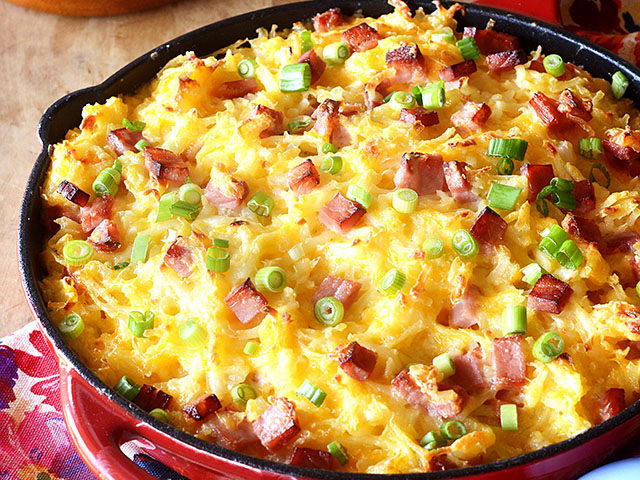 Leftover, baked ham is the perfect topper to this home baked dish. (DTN/Progressive Farmer image by Rachel Johnson)