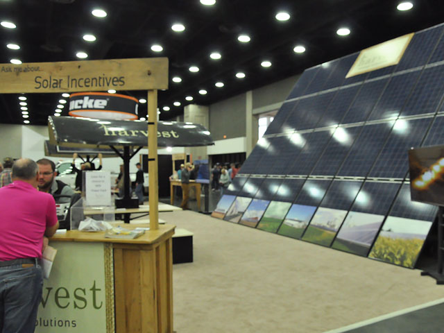 Companies selling solar panels to generate electricity were present at this year's National Farm Machinery Show held in Louisville, Kentucky. The show ran Feb. 14-17. (DTN photo by Russ Quinn)