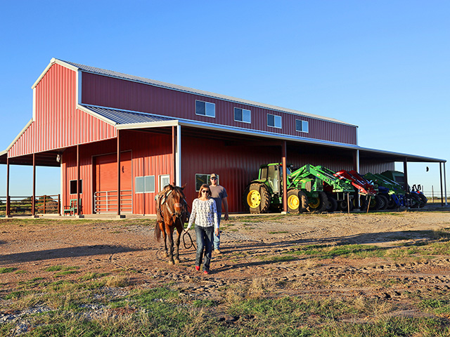 Brit and Brady Russell are part of trend of creating permanent living spaces in active barns. (DTN/The Progressive Farmer photo by Karl Wolfshohl)
