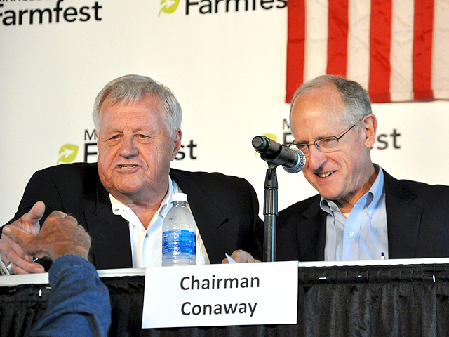 House Ag Ranking Member Collin Peterson, D-Minn., and Chairman Michael Conaway, R-Texas, at FarmFest in 2017 when much of the focus was on protecting crop insurance for producers. (DTN file photo by Chris Clayton)