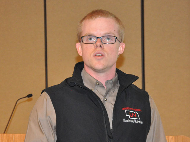 Zac Carlson, a student from the University of Nebraska-Lincoln, shared the results of his research on alternative cow-calf production systems during a recent field day at the Eastern Nebraska Research and Extension Center near Mead, Nebraska. (DTN photo by Russ Quinn)
