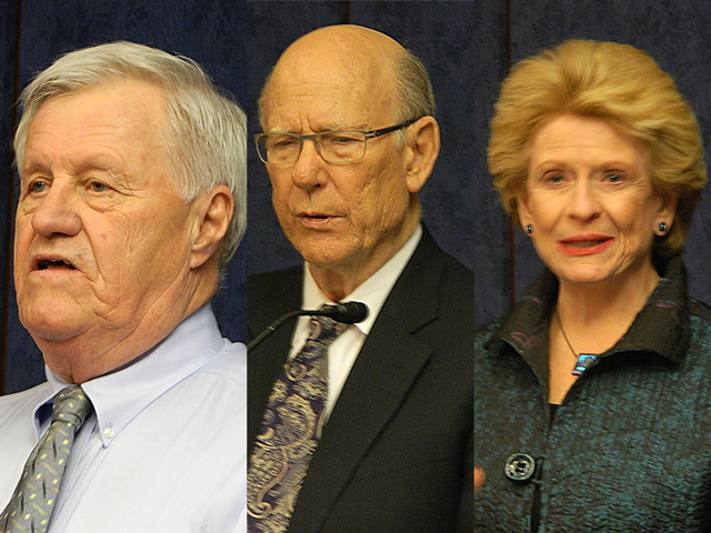 (From left to right) Rep. Collin Peterson of Minnesota, Sen. Pat Roberts of Kansas and Sen. Debbie Stabenow of Michigan spoke to members of the North American Agricultural Journalists association in Washington on Tuesday. (DTN photo by Chris Clayton)