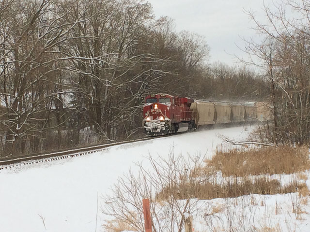 A CP train runs through the western portion of the Twin Cities in Minnesota. The railroad had issued a strike notice for April 21, due to a stall in talks with the unions. (Photo by Mary Kennedy)