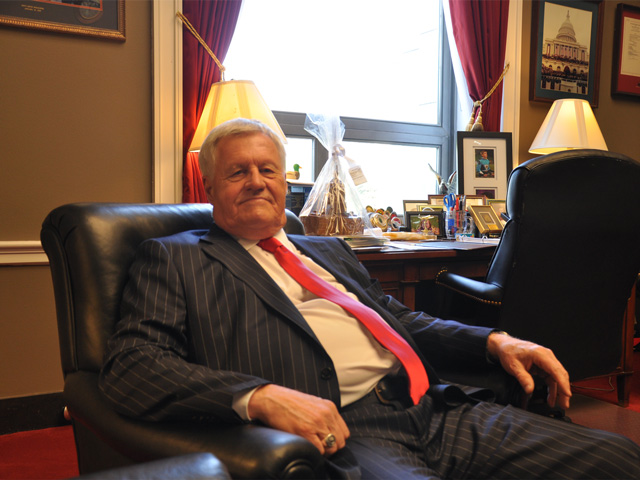 Rep. Collin Peterson, D-Minn., is pictured in his office Wednesday talking about the farm bill. Peterson has not engaged with Chairman Mike Conaway, R-Texas, in recent weeks over the bill because of Democratic resistance to the chairman's plan to overhaul parts of food aid program SNAP. (DTN photo by Chris Clayton)
