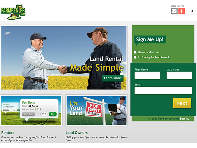 FarmRenter.com auction website allows farmers to create online profiles where they set preferences for location and crop type. (FarmRenter.com image)