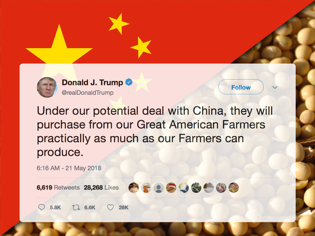 President Donald Trump has repeatedly tweeted for more than a year that China would buy more agricultural products from U.S. farmers while trade talks continue. To help farmers through the trade disruption, the Trump administration also approved a $12 billion aid package for farmers last summer, and a $16 billion aid package in May. (DTN file image)