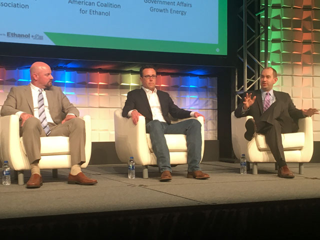 Panelists at the Fuel Ethanol Workshop in Omaha on Tuesday talked about the state of federal biofuels policy. Pictured from left to right are Geoff Cooper, Renewable Fuels Association; Brian Jennings, American Coalition for Ethanol; and Jim Fuher, Growth Energy. (DTN photo by Todd Neeley)