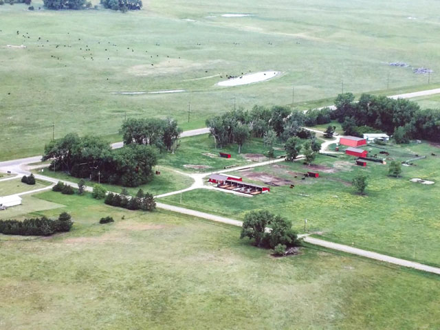 The 10,343-acre Zeman Ranch includes 44 center pivots on 5,640 acres. It also runs cow/calf pairs and a feedlot on 4,700 acres. (Photo courtesy of Hall and Hall)