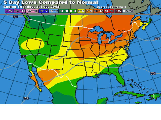 DTN forecast low temperature values compared to normal for early July have got some well-above-normal levels in store for major corn areas. (DTN graphic)