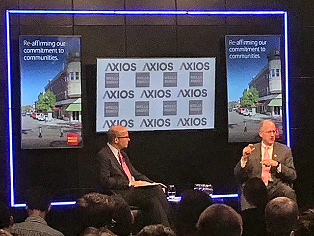 "Mike Allen of Axios, left, and House Agriculture Committee Chairman Michael Conaway, R-Texas, at Tuesday's Axios ""The Hometown Tour"" event in Washington. (DTN photo by Jerry Hagstrom)"