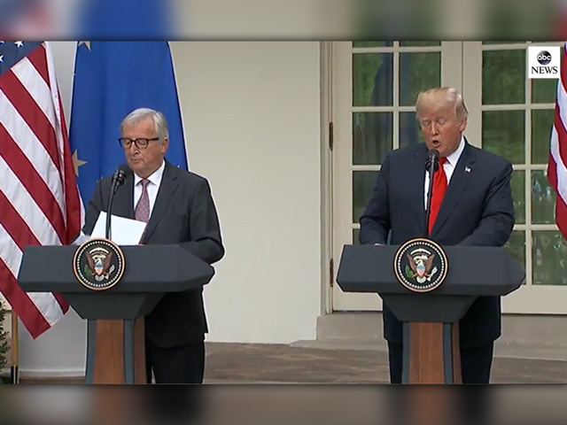 European Union President Jean-Claude Juncker (left) and President Donald Trump hold a brief presser Wednesday afternoon to announce a tentative agreement to move ahead on some trade goals, which includes the EU buying more soybeans from the U.S. (Photo from ABC News video feed)