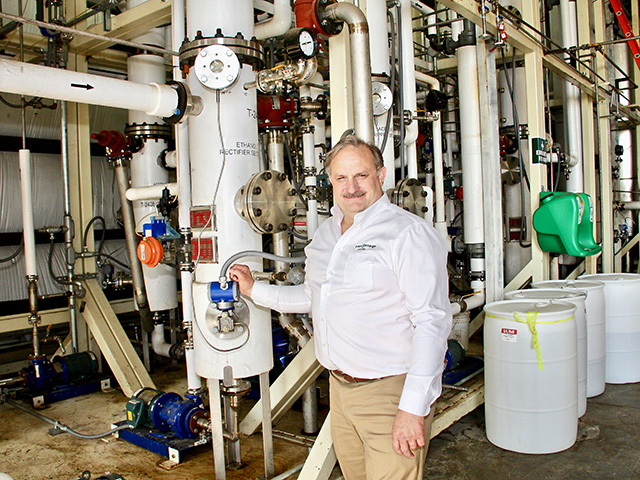 Mark Gaalswyk, CEO and founder, Easy Energy Systems, has developed a modular processing plant for creating sugars or ethanol from multiple crops. (DTN/Progressive Farmer photo by Des Keller)