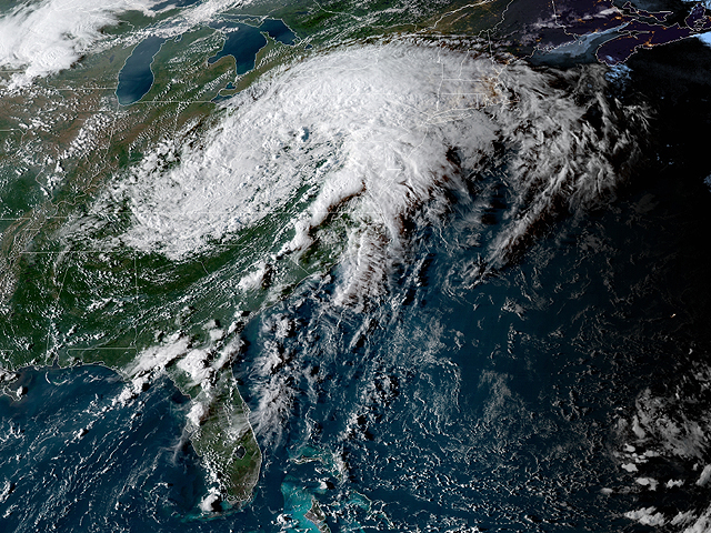 Hurricane Florence has dumped as much as 36 inches of rain on parts of North Carolina since last Thursday. This NOAA satellite image from Monday shows the remnants of the storm have moved north. (Image courtesy of NOAA)
