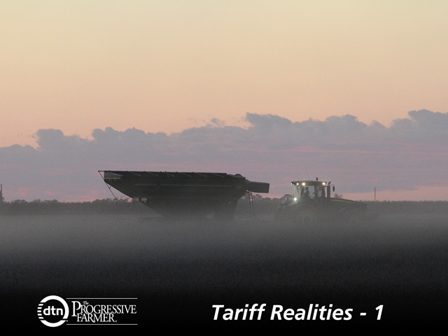 China's tariffs cast a fog over this year's soybean harvest, especially in the Northern Plains, as farmers put soybeans in storage and wonder how long they'll have to hold on to them. (DTN photo by Elaine Shein)