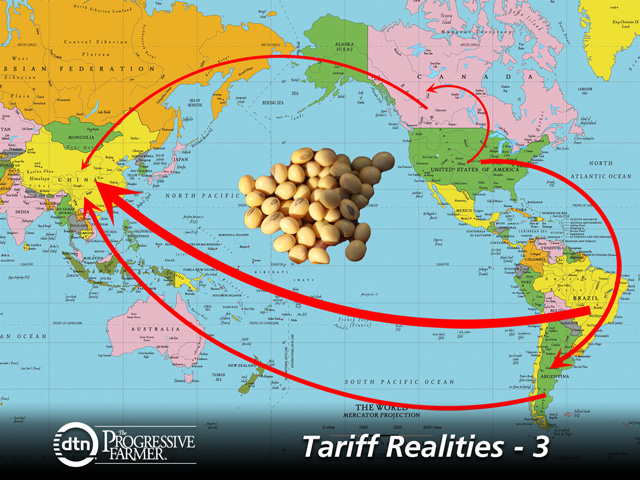 China is determined to ride out the early winter by reducing its soybean imports. At the same time, countries such as Argentina are selling beans to China, but also buying them from the U.S. The same is possible if Canadian soybean exports bump up after harvest as well. (DTN map and graphic by Nick Scalise)