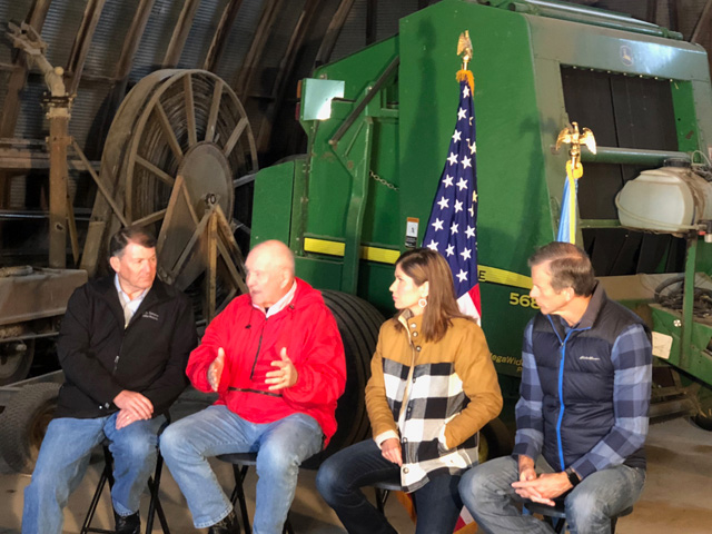 Sen. Mike Rounds, Agriculture Secretary Sonny Perdue, Rep. Kristi Noem and Sen. John Thune hold a town-hall event with farmers on Thursday near Lennox, S.D. (Photo by Chris Clayton)