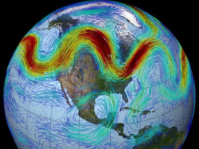 The speed and waviness of the Northern Hemisphere jet stream is affected by the temperature difference between the Arctic and the mid-latitudes. (NASA graphic)