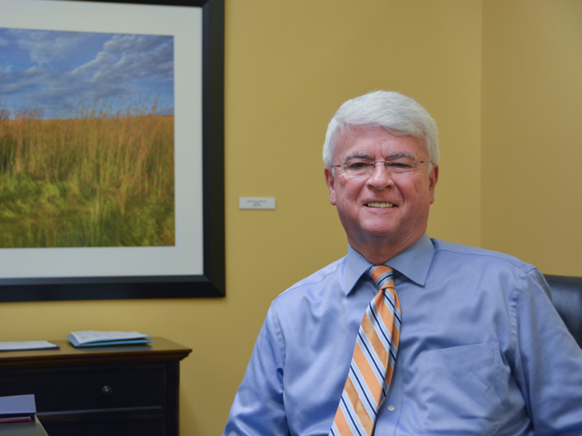 Jim Gulliford, EPA's Region 7 administrator, in his office in Lenexa, Kansas. Gulliford told DTN he is trying to work more with agribusiness on compliance and wants to avoid an aggressive focus on enforcement. (DTN photo by Chris Clayton)