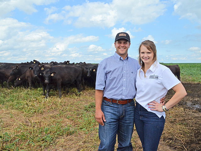 The shift from private treaty sales to public auction is helping Reiss and Heather Bruning define this herd. (DTN/Progressive Farmer photo by Victoria G. Myers)