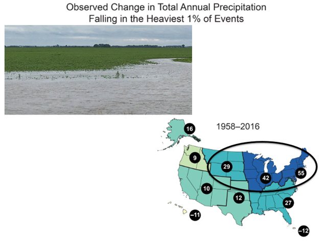 The past 60 years have featured substantially more occurrences of precipitation -- usually rain -- events occurring that fall into record category over the Northern Plains and the Midwest. (DTN photo by Mary Kennedy (upper left); graphic courtesy of the National Climate Assessment 2018)