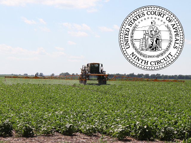 The U.S. Ninth Circuit Court of Appeals dismissed a lawsuit arguing that the 2016 dicamba registrations were illegal but will allow the plaintiffs to file a new lawsuit quickly against the 2018 registrations. (DTN photo graphic)