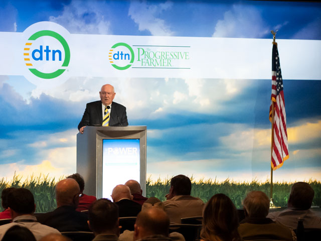 U.S. Agriculture Secretary Sonny Perdue delivers the keynote speech at the DTN Ag Summit on Monday in Chicago. (DTN photo by Nick Scalise)