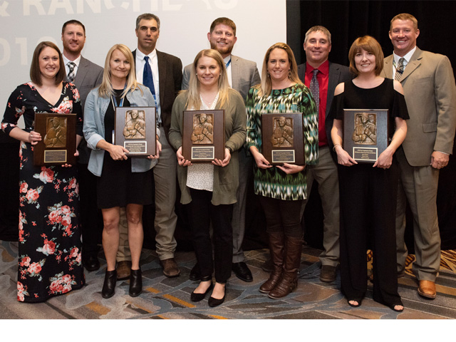 The ninth class of DTN/The Progressive Farmer America's Best Young Farmers and Ranchers was announced Tuesday in Chicago at the DTN Ag Summit. The recipients include: front row, from left to right: Tanner Lange, Melinda Sims, Shelby Kelman, Melissa Morris and Dawn Ruyle; back row, from left to right: Joel Lange, Shanon Sims, Hayes Kelman, Bobby Morris and Kevin Ruyle. (DTN/The Progress Farmer photo by Joel Reichenberger)