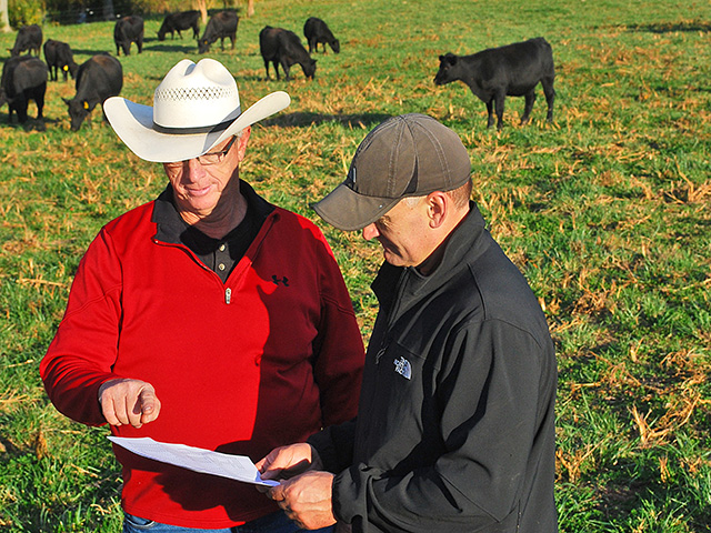 Mike Mutch (right) uses gender-sorted semen to help him produce a higher percentage of females in his North Carolina Angus herd. Veterinarian Richard Kirkman AIs Mutch's herd. (DTN/Progressive Farmer photo by Boyd Kidwell)