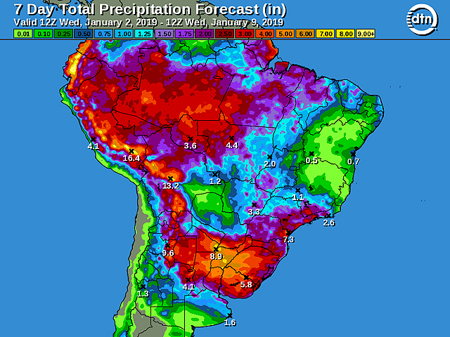 The South America seven-day total precipitation forecast shows calls for some moderate-to-heavy showers and thunderstorms from late this week through early next week accompanied by cooler conditions in Brazil. (DTN graphic)