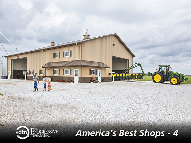 Before you build a shop, measure the footprint of your equipment so the pieces that are to be stored inside will all fit within the space. Build a large staging area to expand the usefulness of the shop. (DTN/The Progressive Farmer photo by Morton Buildings)