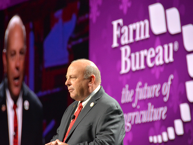 Zippy Duvall, president of the American Farm Bureau Federation, spoke at the group's 100th annual meeting on Sunday in New Orleans. Duvall talked about Farm Bureau's history of becoming a united voice for agriculture when it comes to issues affecting agriculture. (DTN photo by Chris Clayton)