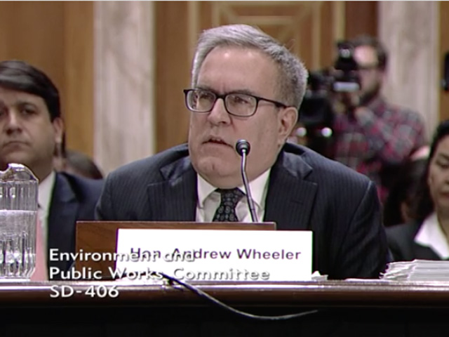EPA Acting Administrator Andrew Wheeler told a U.S. Senate committee on Wednesday that the E15 rule could be delayed if the government shutdown continues. (Photo from U.S. Senate Committee on Environmental and Public Works webcast)