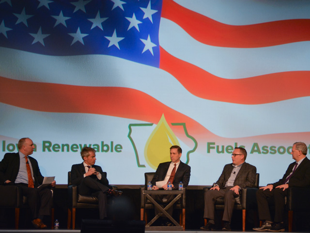 A panel discussion on policy outlook at the Iowa Renewable Fuels Association Summit on Tuesday included (from left) Monte Shaw, executive director of Iowa RFA; Eric Branstad from Mercury Public Affairs; Kevin Studer, a lobbyist from the Iowa Corn Growers Association; Robert White, a vice president with the national Renewable Fuels Association; and Donnell Rehagen of the National Biodiesel Board. (DTN photo by Chris Clayton)