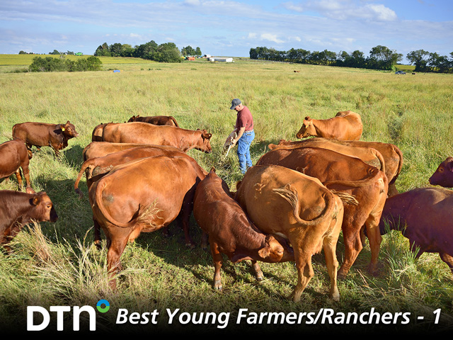 Kevin Ruyle with his herd of Red Angus cattle near Oxford, Kansas. (DTN/The Progressive Farmer photo by Jim Patrico)