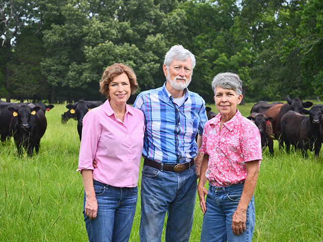 Black Angus from the 1930s are the foundation of this historic farm, where the past meets a drive to breed the perfect bull. Pictured are Nancy and Bill Howard, and Judy Moyers. (Progressive Farmer photo by Victoria G. Myers)