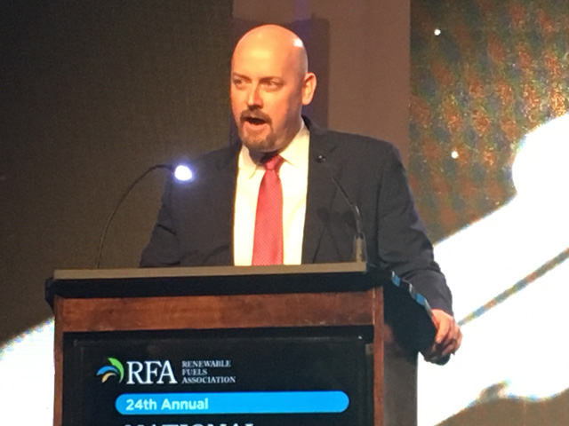 Renewable Fuels Association President and CEO Geoff Cooper talked about the ethanol industry's challenges in 2018, during the National Ethanol Conference in Orlando, Florida. (DTN photo by Todd Neeley)