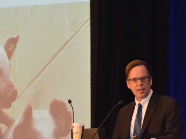 USDA Chief Economist Robert Johansson predicted that stagnant prices and the continued trade war will weigh on the overall ag economy in 2019 at the USDA Agricultural Outlook Forum on Thursday. (DTN photo by Chris Clayton)