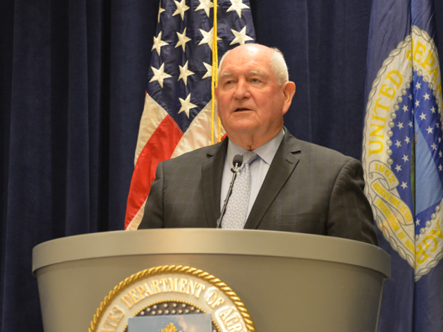 Agriculture Secretary Sonny Perdue holds a news conference Thursday at the USDA Agricultural Outlook Forum. Perdue took a lot of questions about steel and aluminum tariffs, as well as the state of trade talks with China. (DTN photo by Chris Clayton)