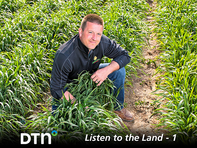 Jason Mauck watches his crop, interacts with it and keeps asking questions. (DTN/Progressive Farmer photo by Dave Charrlin)