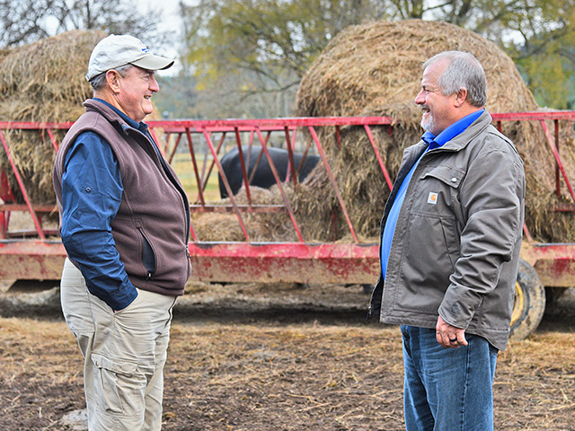 Father and son team Jody Wade (right) and Harold Wade decided to take a step back and reevaluate their herd deworming program.(Progressive Farmer image by Becky Mills)