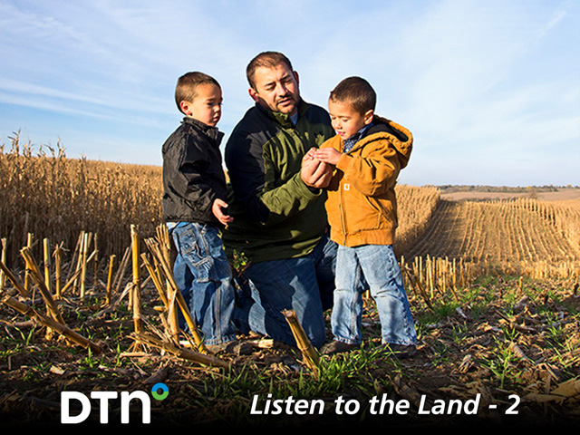 Kevin Ross with twin sons Carver (left) and Hollis. Having land in the family for more than a century drives the Ross family to want to preserve it for the future. (DTN/Progressive Farmer photo by Greg Lamp)