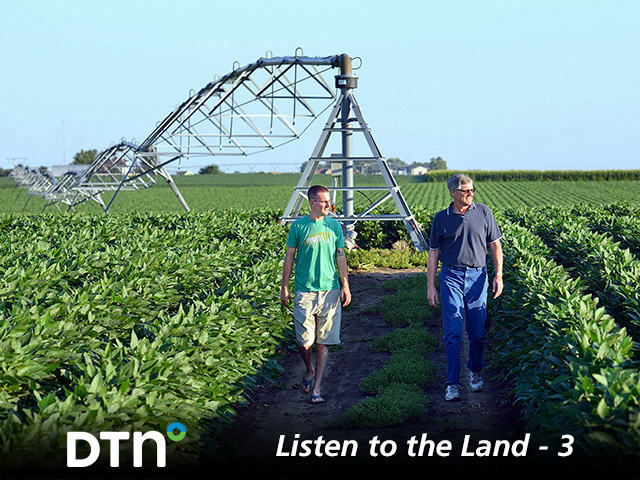 Ron Makovicka and his son, Brad, use soil moisture monitors to take the guesswork out of scheduling irrigation applications. (DTN/Progressive Farmer photo by Jim Patrico)