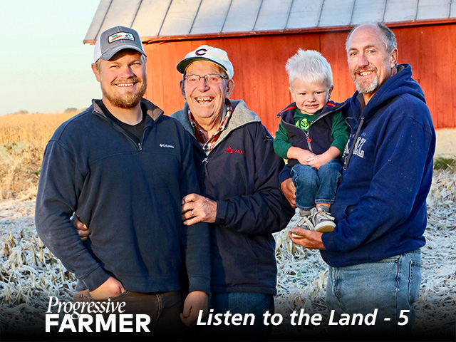 Four generations of Reuschels continue a stewardship tradition. (From left) Andrew, Louis, Everett and Jeff. (DTN/Progressive Farmer photo by Des Keller)
