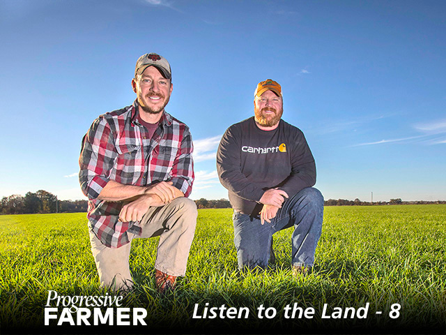 Seth (left) and Adam Chappell first began cover-cropping to control Palmer amaranth. (DTN/Progressive Farmer photo by Lisa Buser)