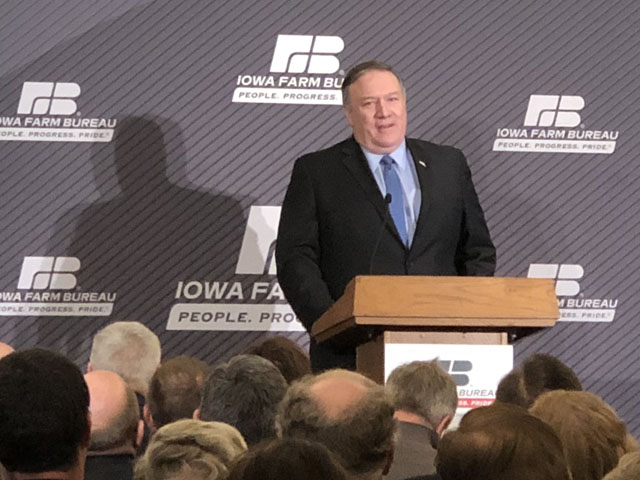 Secretary of State Mike Pompeo addresses Iowa farmers at the World Food Prize Hall of Laureates in Des Moines, Iowa on Monday. (DTN photo by Chris Clayton)