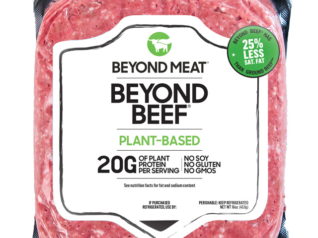 "Whether plant-based, like the new ""Beyond Beef"" product, or lab-grown, ""fake meats"" are poised to do to beef what almonds and soy have done to dairy. (Photo courtesy of Beyond Beef)"