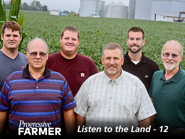 Two generations of the Rulon family actively manage and support the farm. Involved in the operation are (left to right) Nick Rulon, Roy Rulon, Neal Rulon, Rodney Rulon, Andrew Bernzott (a farm employee) and Ken Rulon. (DTN/Progressive Farmer photo by Charles Johnson)